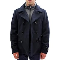 Seduka Men's Jacket - Military Style Wool Blend Peacoat