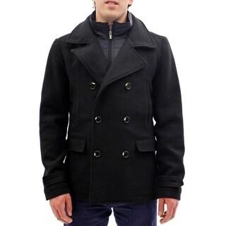 Seduka Men's Jacket - Military Style Wool Blend Peacoat