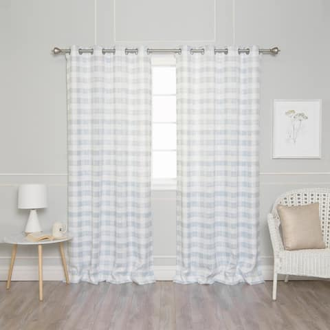 Aurora Home Watercolor Check Privacy Curtain Panel Pair