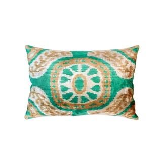 "Pasargad Silk Velvet Ikat Pillow- 15"" X 24"""