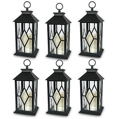 6-Decorative Lanterns Diamond Design with LED-Flameless Flickering Candle