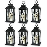 6-Decorative Lanterns Diamond Design with LED-Flameless Flickering Candle