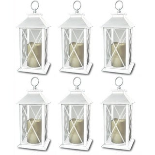 6-Decorative White Lanterns Cross-X-Design with LED-Flameless Flickering-Candle
