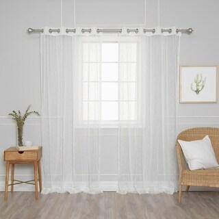 "Aurora Home Modern Triangle Lace Sheer Curtain Panel Pair - 52""W x 84""L"