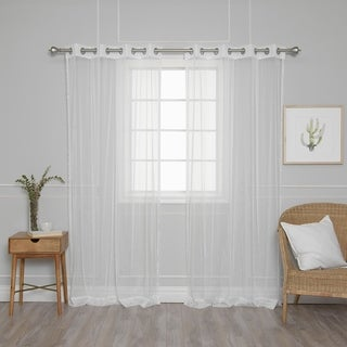 Aurora Home Modern Dot Lace Sheer Curtain Panels (Set of 2)