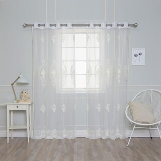 Aurora Home Pearl Embroidered Sheer Curtain Panels (Set of 2)