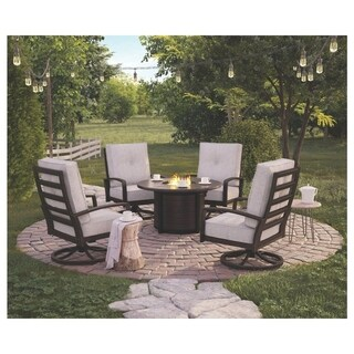 Signature Design by Ashley Castle Island Dark Brown Round Fire Pit Table