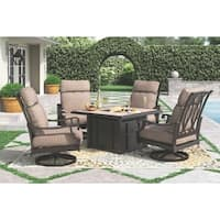 Chestnut Ridge Outdoor Square Fire Pit Table with Porcelain Top - Brown