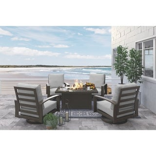 Signature Design by Ashley Cordova Reef Dark Brown Rectangular Fire Pit Table