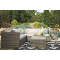 Signature Design by Ashley Peckham Park Outdoor Sectional Pieces Corner Chair and Ottoman Only Beige and Brown