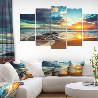 Beautiful Cloudscape over the Sea - Modern Beach Canvas Art Print - 5 Panels Diamond Shape (As Is Item)