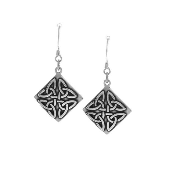 Sterling Silver Triangle Knot Earrings