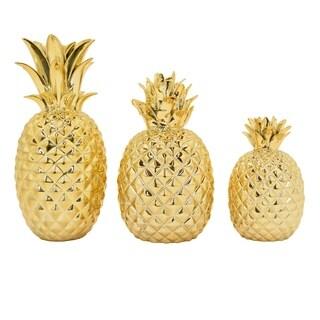 Three Hands Set Of Three Ceramic Pineapple Tabletops
