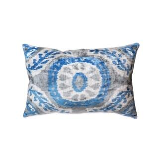 "Silk Velvet Blue Ikat Pillow (15"" X 24"")"