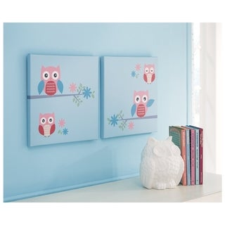 Signature Design by Ashley Edith Set of 2 Wall Art - Green/Pink/TEAL - 14 x 14