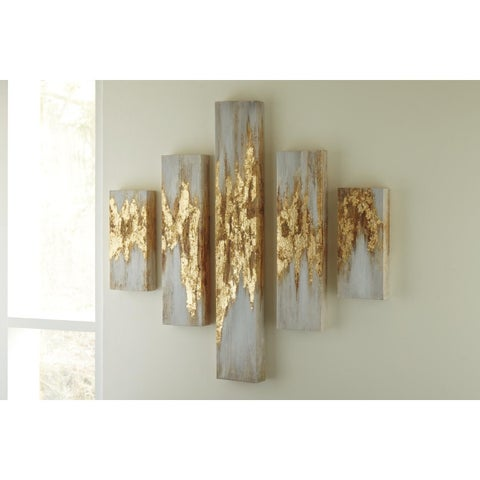 Signature Design by Ashley Devlan Set of 5 Wall Art - GOLD/White