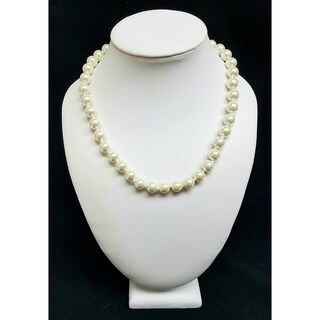 Kenneth Jay Lane Light Cultura Pearl with Gold Toggle Clasp Necklace - White