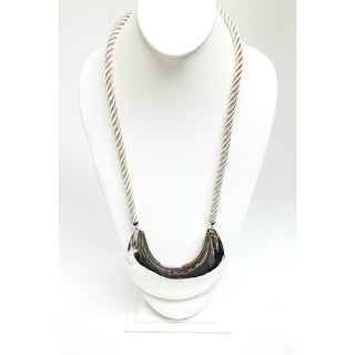 Kenneth Jay Lane Polished Silver Moon Pendant with Beige Cord Necklace