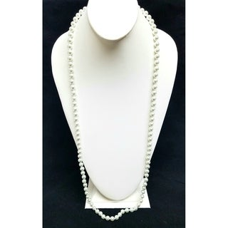 Kenneth Jay Lane Glass White Pearl Strand Necklace
