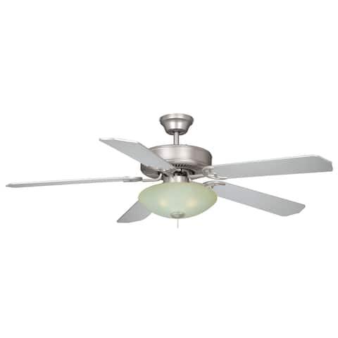 3L Nickel Contemporary Semi Flush Ceiling Light or Fan Light Kit - 13.75-in W x 4.25-in H x 13.75-in D