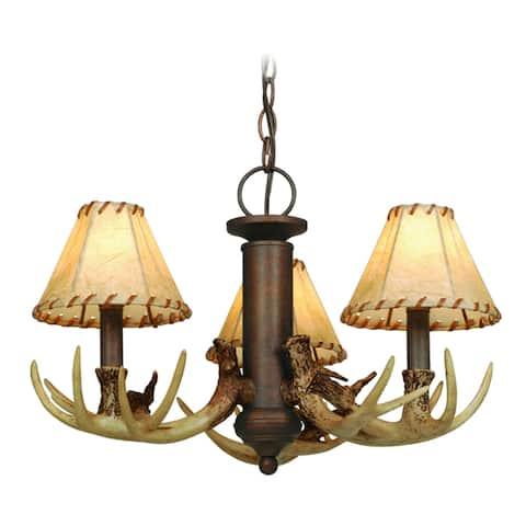 Lodge 3L LED Bronze Rustic Antler Mini Chandelier or Fan Light Kit - 19.5-in W x 12-in H x 19.5-in D
