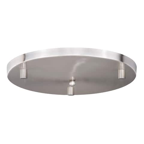 16-in W Round Satin Nickel 3 Light Mini Pendant Ceiling Canopy - Satin Nickel - 15.75-in W x 3.25-in H x 15.75-in D