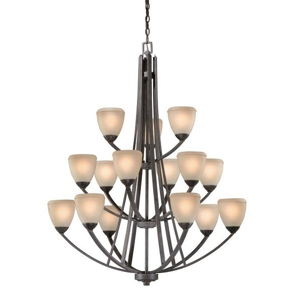 Vaxcel Helsinki 15L Chandelier Black Walnut
