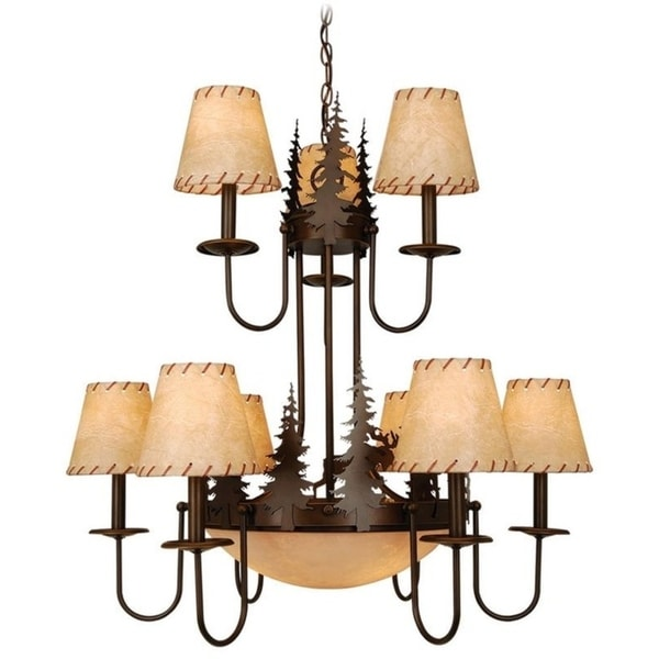 Vaxcel Yellowstone 12L Chandelier Burnished Bronze