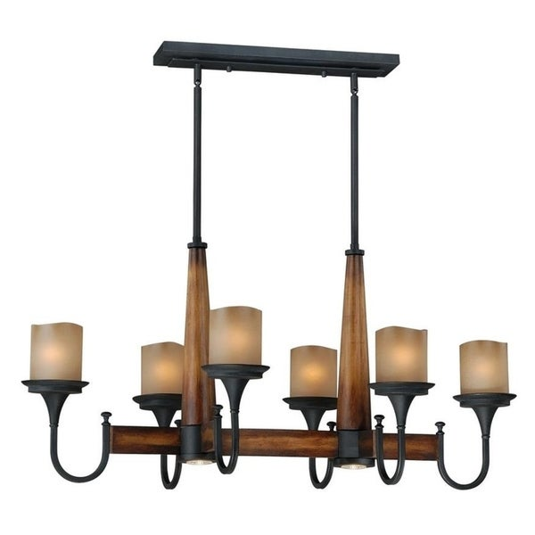 Vaxcel Meritage 8L Pendant (Up and Down Light) Charred Wood and Black Iron