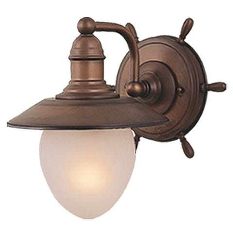 Orleans 1 Light Copper Coastal Bathroom Wall Fixture - 9-in W x 10.5-in H x 11-in D
