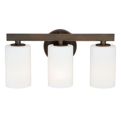 Glendale 3 Light Bronze Bathroom Vanity Fixture - 16.25-in W x 8-in H x 5-in D