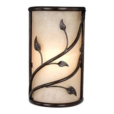 Vine 2 Light Black Rustic Flush Wall Sconce Amber Glass - 9.25-in W x 15-in H x 5-in D