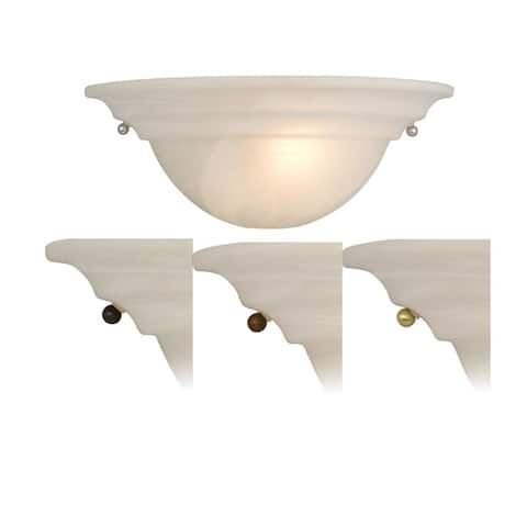 Babylon Brass Nickel Bronze Half Moon Wall Sconce White Glass - 13-in W x 5-in H x 6.5-in D