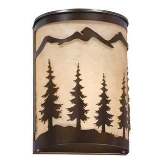 Yosemite 1 Light Bronze Rustic Tree Flush Indoor Outdoor Wall Sconce - 8-in W x 11-in H x 5-in D