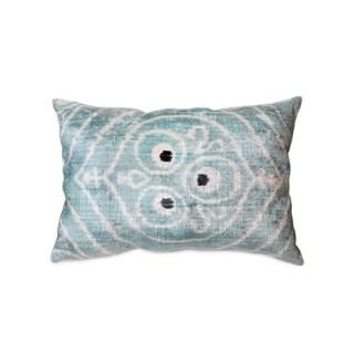 """Silk Velvet Ikat Seafoam Pillow (15"""" X 24"""")"""