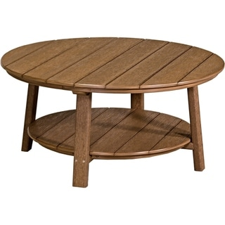 Outdoor Round Conversation / Coffee Table in Woodgrain Colors - Poly Lumber