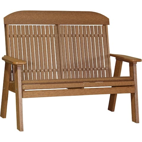 Outdoor 4' Highback Bench in Woodgrain Colors - Recycled Plastic