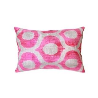 """Pasargad Silk Velvet Ikat Pink Pillow (15"""" X 24"""")"""