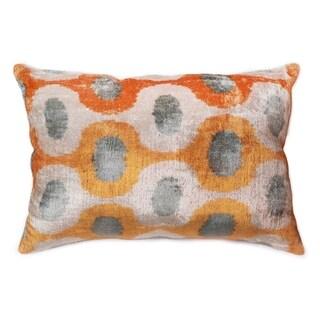 "Silk Velvet Ikat Gold/Grey Pillow (15"" X 24"")"