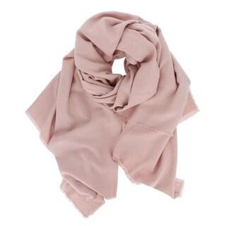 Solid Soft Pink Fringe Oblong Scarf