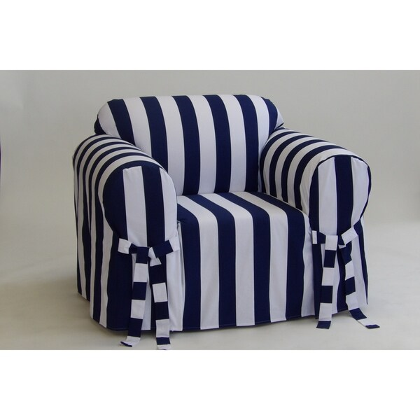 Incroyable Cabana Stripe One Piece Chair Slipcover Navy/white