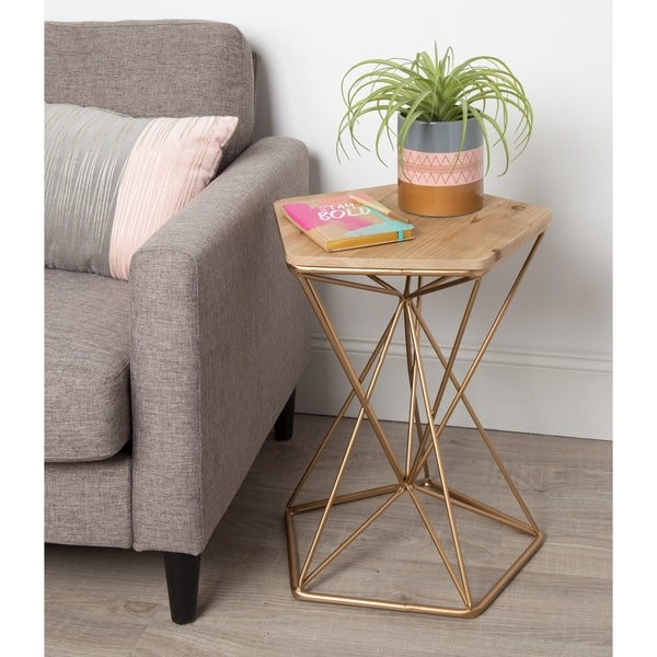 Kate and Laurel Ulane Metal Side Accent Table with Wood Top
