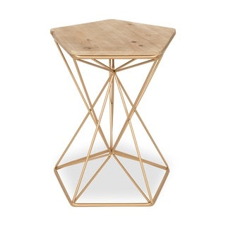 Ulane Metal Side Accent Table with Natural Wood Top, Rose Gold