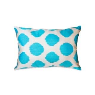 """Pasargad Silk Velvet Ikat Aqua Pillow (15"""" X 24"""")"""