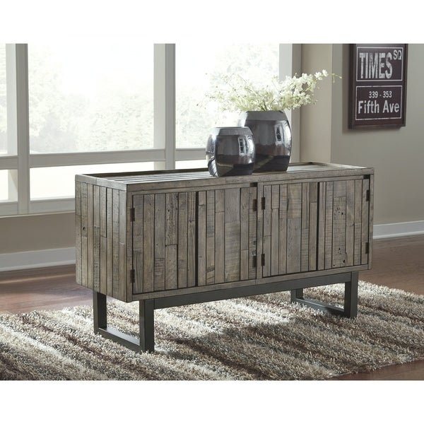 Signature Design By Ashley Cazentine Distressed Grey Wood/Metal Accent  Cabinet