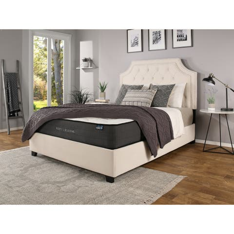 Audrey Nailhead Upholstered Ivory Bed with Nest & Bloom Hybrid Mattress Bundle