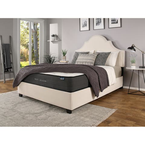 Portman Nailhead Ivory Upholstered Platform Bed with Nest & Bloom Hybrid Mattress Bundle