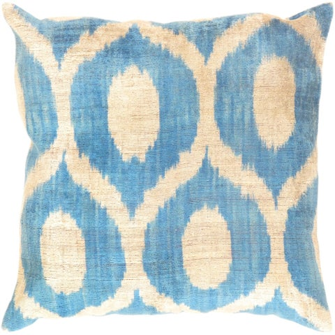 "Silk Velvet Ikat Silver/Blue Pillow (20"" X 20"")"
