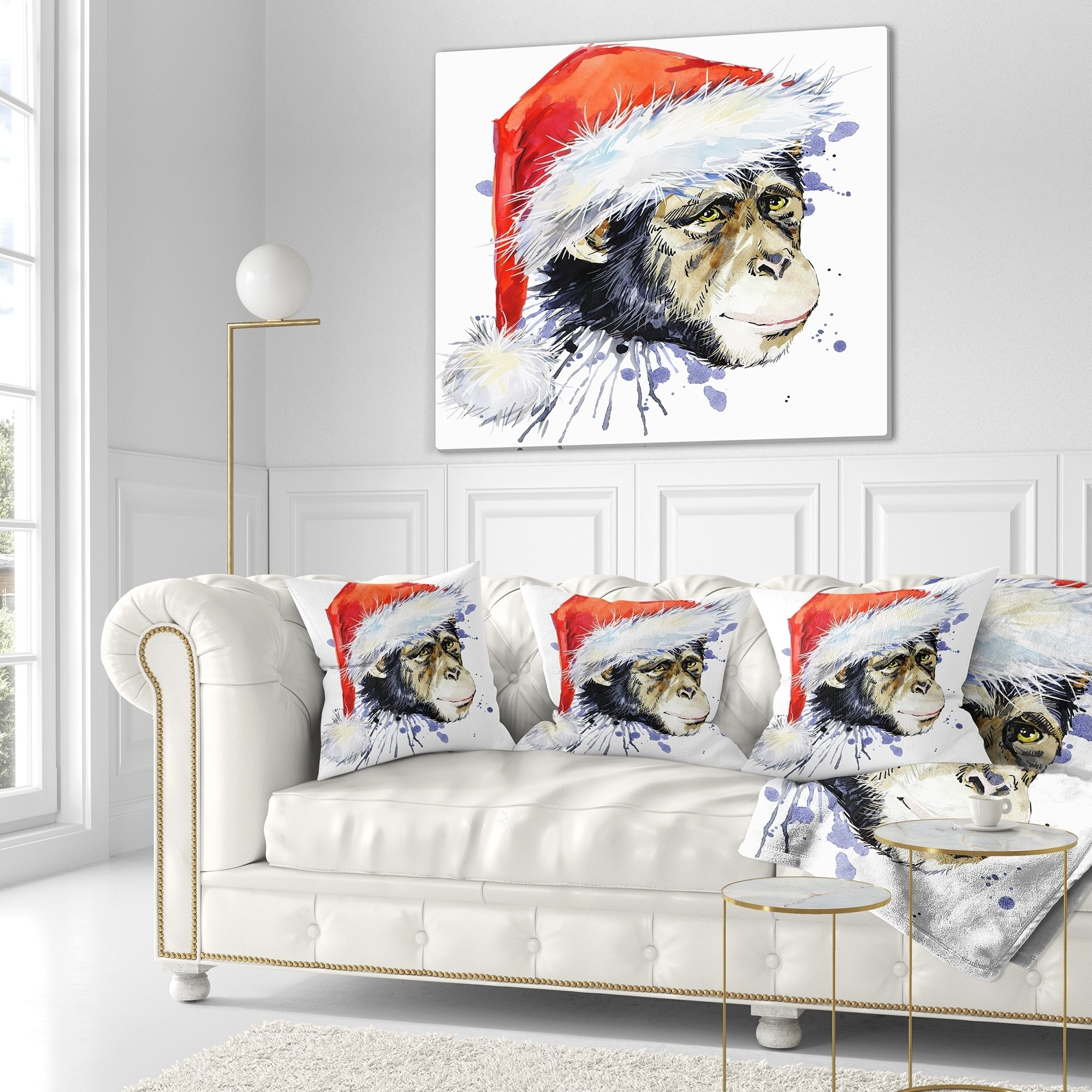 Designart Monkey Santa Clause Animal Throw Blanket Overstock 20909815 71 In X 59 In