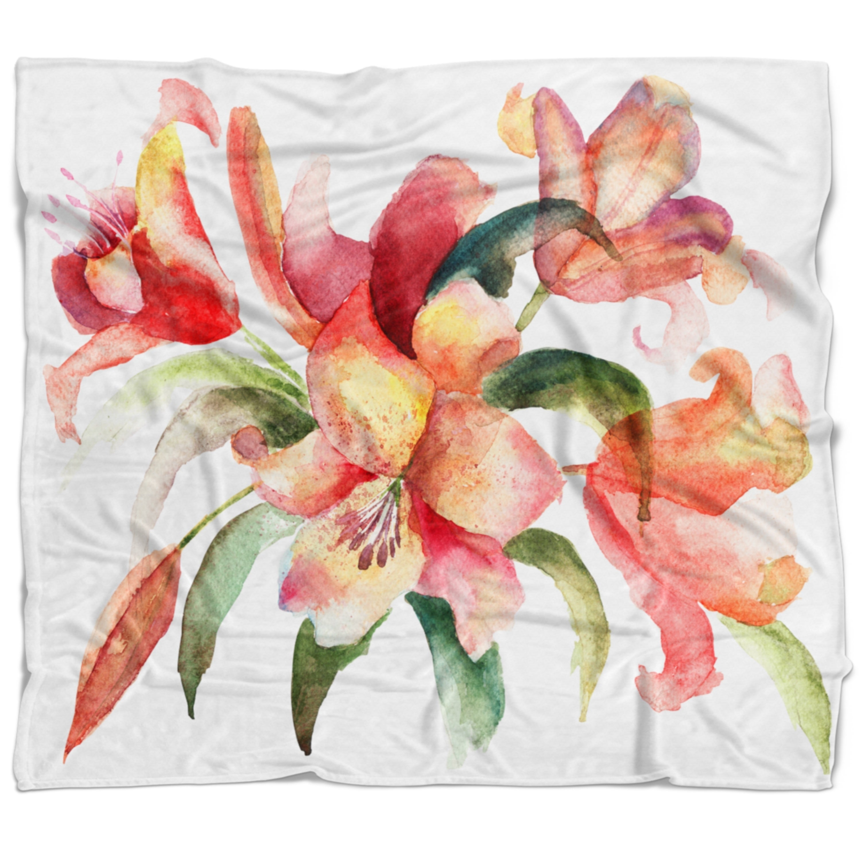 Designart Lily Flowers Watercolor Illustration Floral Throw Blanket On Sale Overstock 20909872 71 In X 59 In